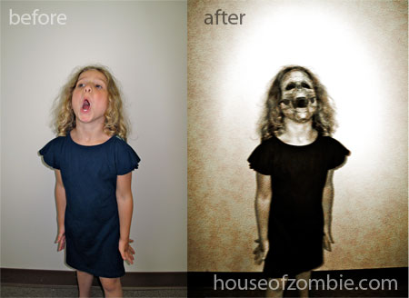 Before and After Photos of my new Zombie Art Technique